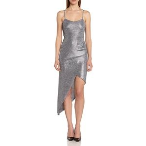 BCBG SIlver Shimmer Asymmetrical Bodycon Dress